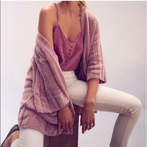 Anthro Moth Mauve Chenille Sweater Cardigan